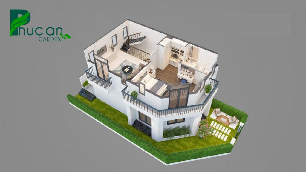 Mặt cắt tổng thể căn nhà phố dự án Phúc An Garden - Bình Dương