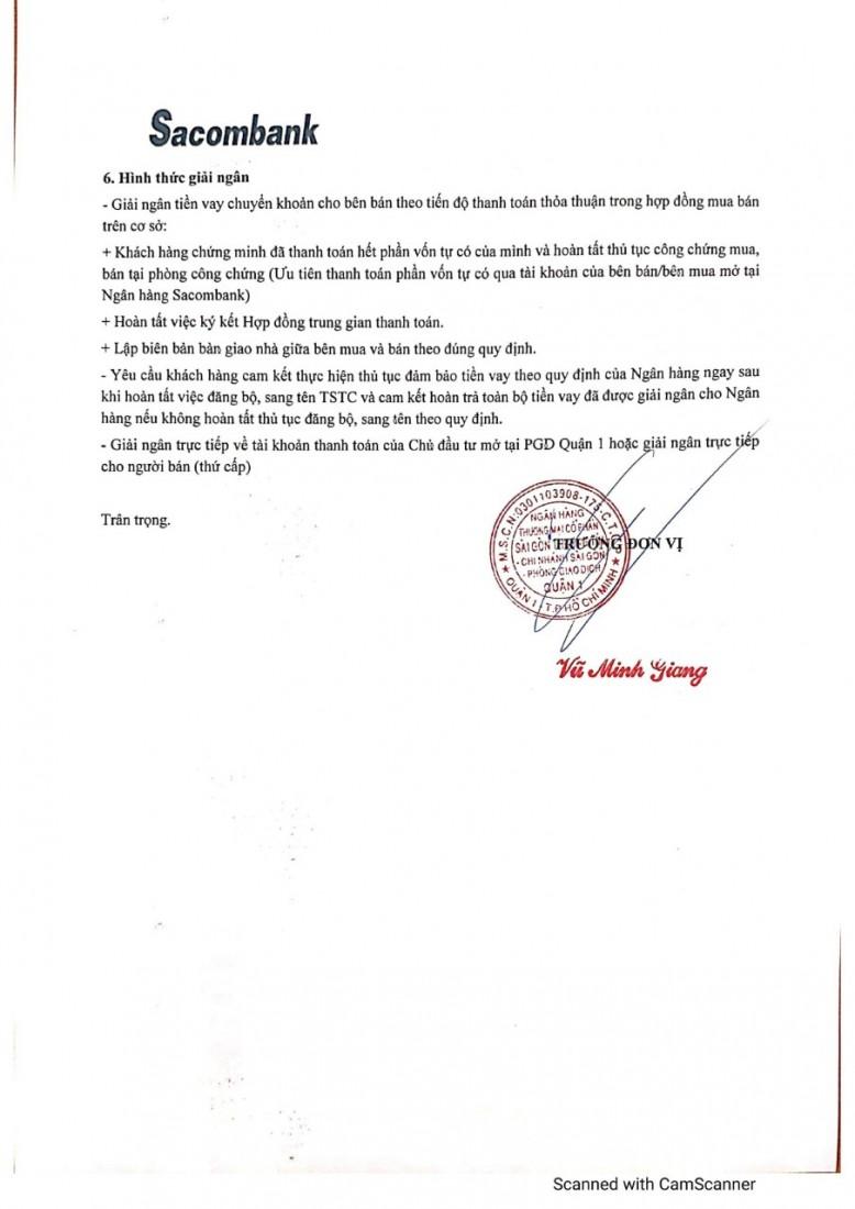 Chính sách vay sacombank khu water square Việt Úc Varea