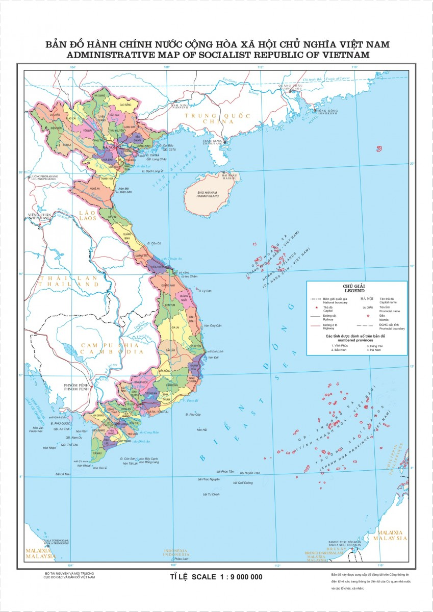 Bản đồ hành chính Việt Nam. Click vào để phóng to