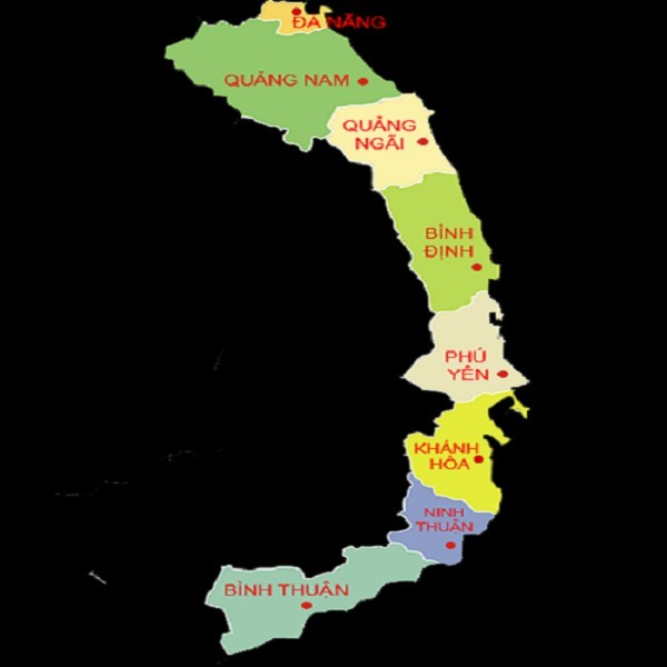 Bản Đồ Duyên Hải Nam Trung Bộ và Trung Trung Bộ