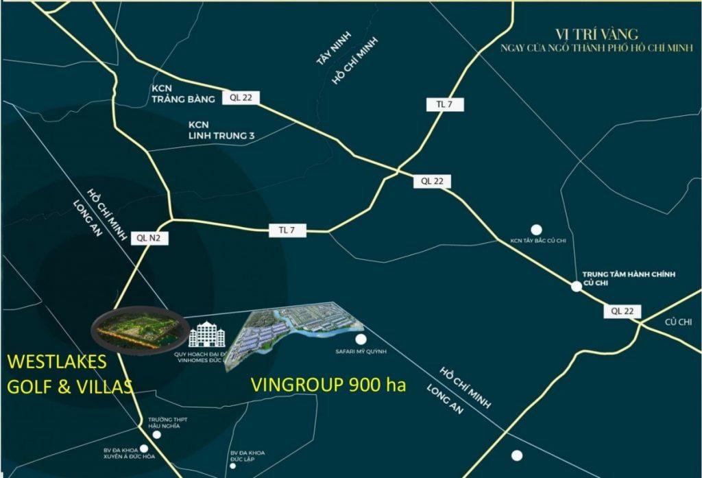 Vị trí dự án West Lakes Golf & Villas Long An