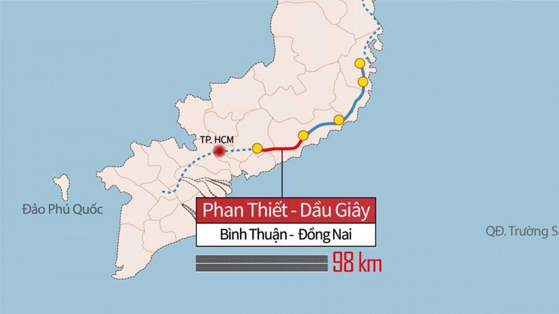 Bản đồ Cao tốc Phan Thiết – Dầu Giây