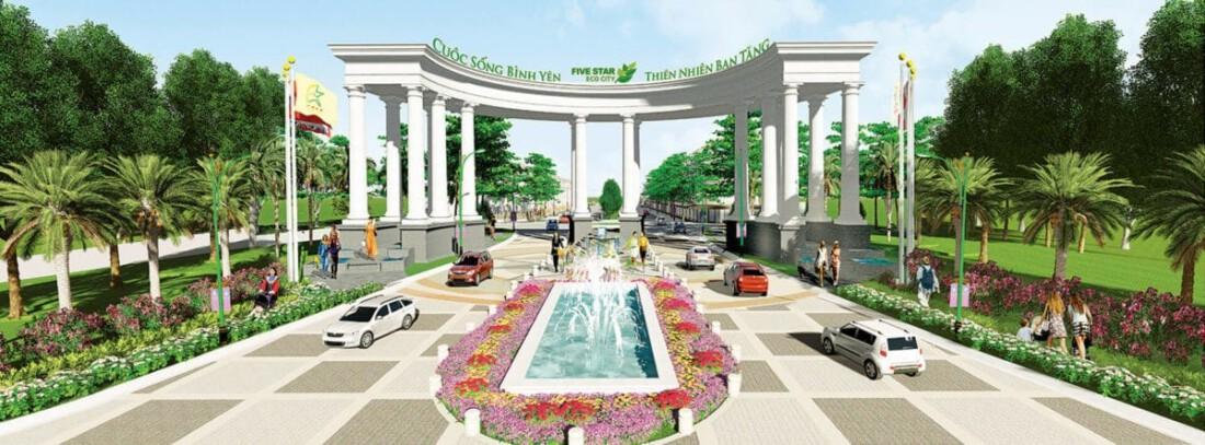 Cổng chính Khu đô thị sinh thái Five Star Eco City