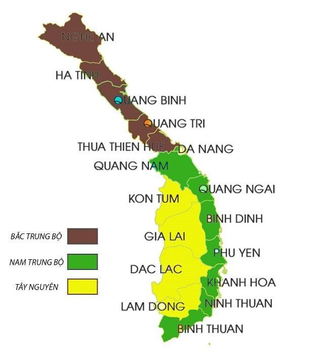 Bản đồ Việt Nam các tỉnh miền Trung