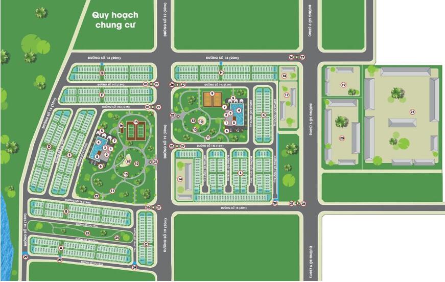 vị trí nhà phố lovera park Khang Điền