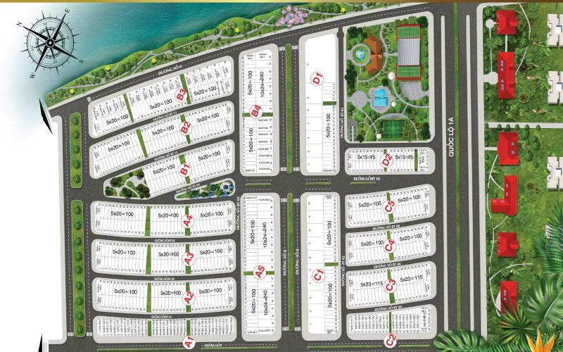 Bản đồ phân lô nhà phố Lavilla Green City Tân An