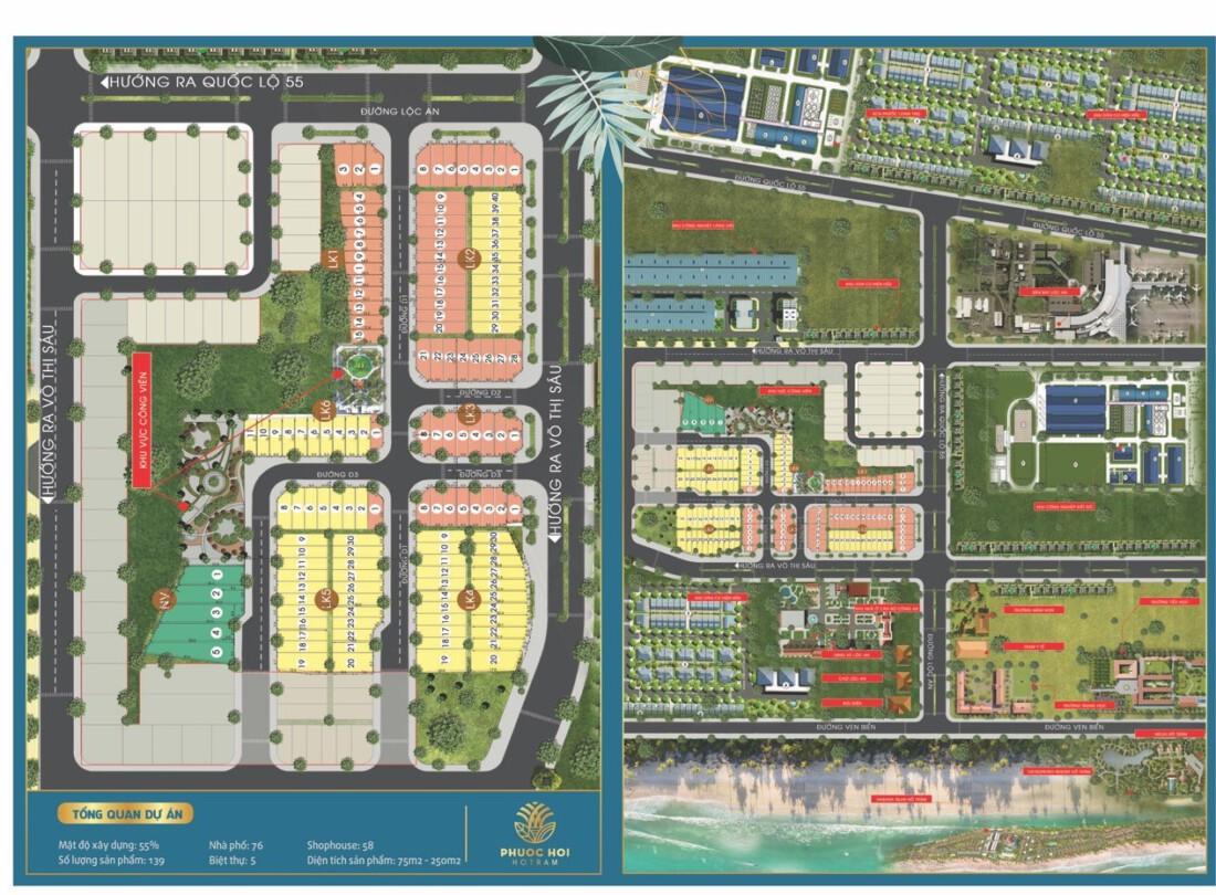 Mặt bằng dự án KDC Phước Hội Hồ Tràm