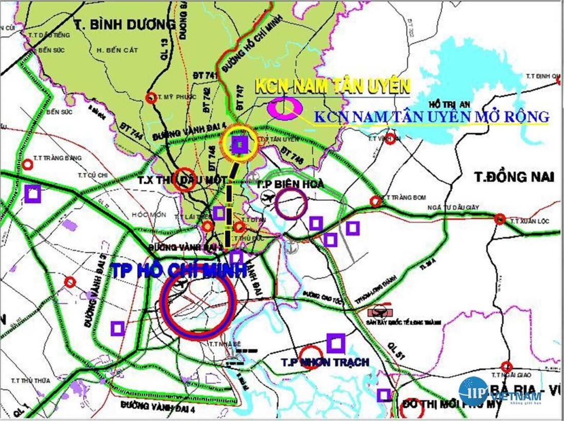 Vị trí Khu công nghiệp Nam Tân Uyên